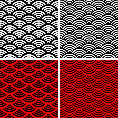 escamas de pez: Conjunto de ornamentos de onda.