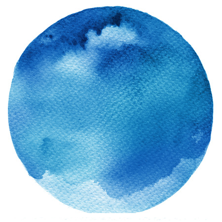 Watercolor blue stain isolated on white background. Watercolour palette.
