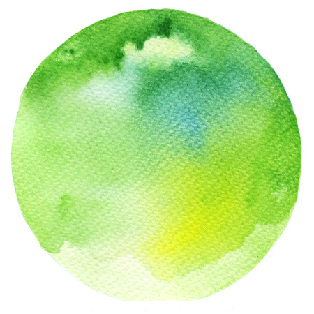 green ink: Watercolor green stain isolated on white background. Watercolour palette. Stock Photo