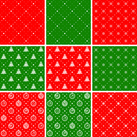 green and red: Seamless patterns. Ornament with Christmas trees and dotted rhombuses. Holiday backgrounds.