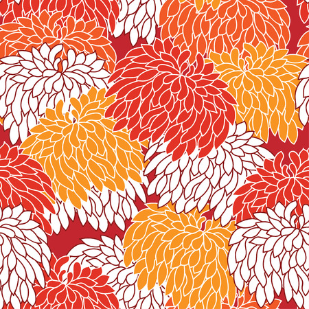 chineese: Floral seamless ornament with chrysanthemum