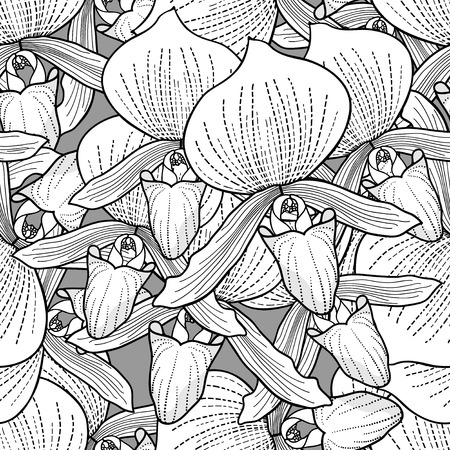 Stylish orchid flowers seamless ornament Vector
