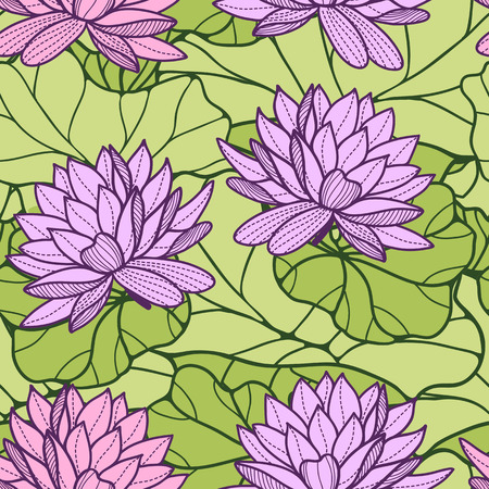 Stylish water lily seamless ornament Vector