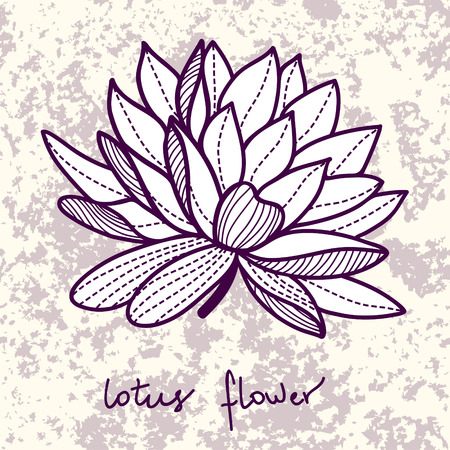 ylish lotus flower on grunge background Vector
