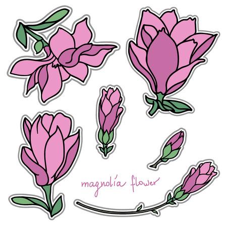 Set of bright magnolia flower stickers Ilustração
