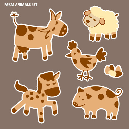 Set of farm animals. Horse, cow, sheep, pig and chicken