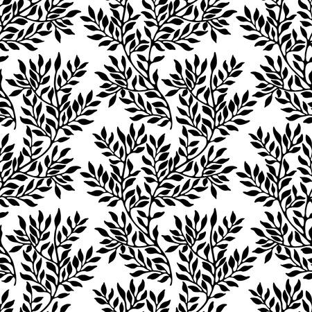 Ornement Seamless feuillages. Motif noir et blanc Banque d'images - 42539701