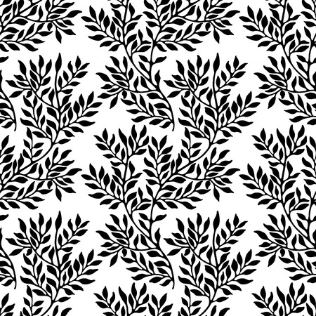 flower tree: Seamless foliate ornament. Black and white pattern Illustration