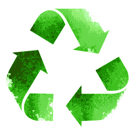 Green recycle sign isolated on white background Ilustração