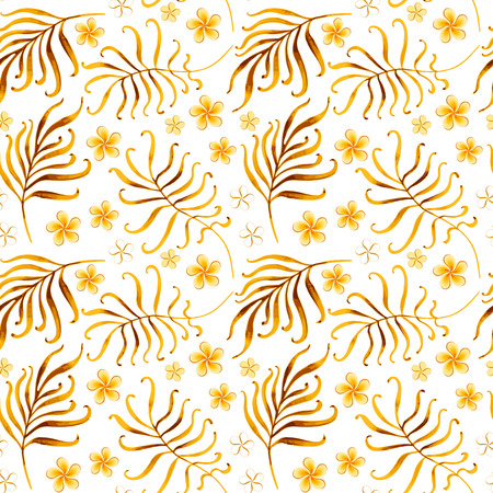 Seamless tropical ornament. Watercolor vector illustration. Ilustração