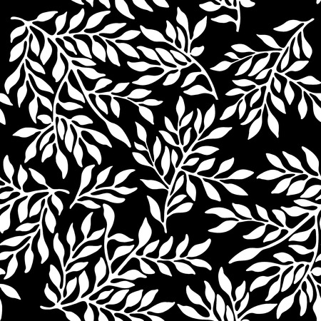 black branch: Seamless foliate ornament. Black and white pattern Illustration
