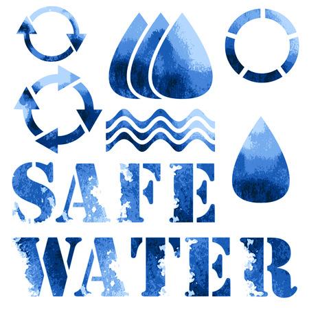 Blue eco poster, recycle signs and text Ilustração