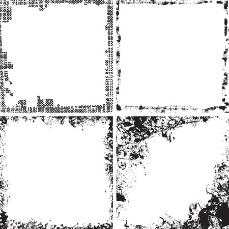 Set of square grunge frames. Ink vector collection.