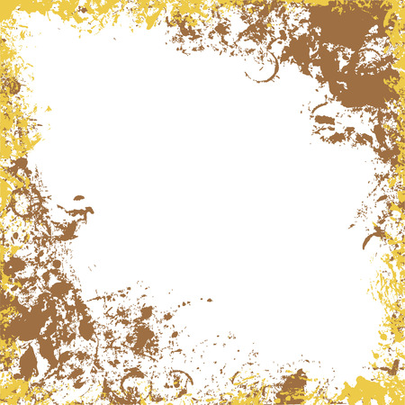 Grungy square frame in gold and brown colors. Ink vector collection. Ilustração