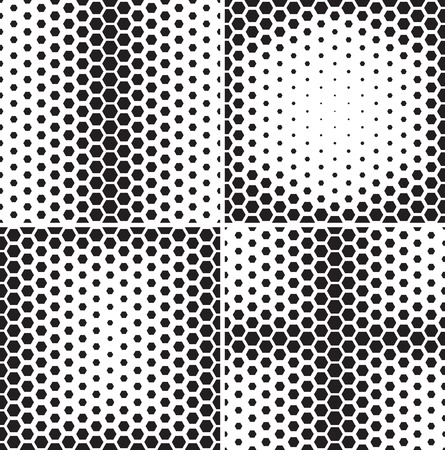 hexagon: Seamless pattern collection. Set of repeating abstract backgrounds with hexagons arranged as gradient.  Illustration