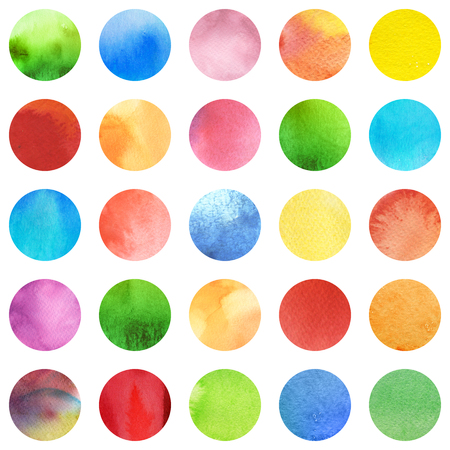 Seamless retro geometric pattern with polka dots. Colored ornament. Watercolor background texture, wrapping paper. Circle multicolored icons, red, green, blue and yellow palette.