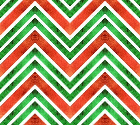 Seamless retro geometric pattern with zigzag lines. Green and red chevron stripes ornament. Christmas wrapping paper.