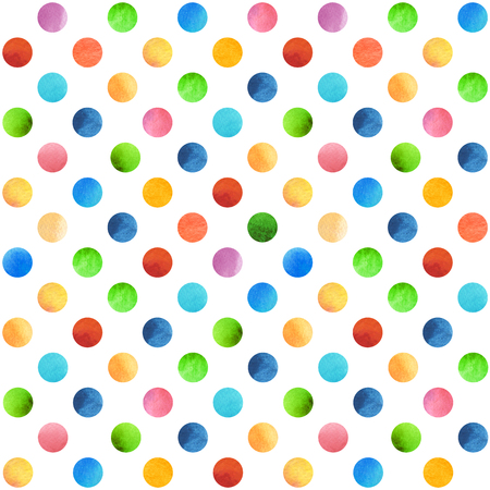 Seamless retro geometric pattern with polka dots. Colored ornament. Watercolor background, wrapping paper. Banco de Imagens