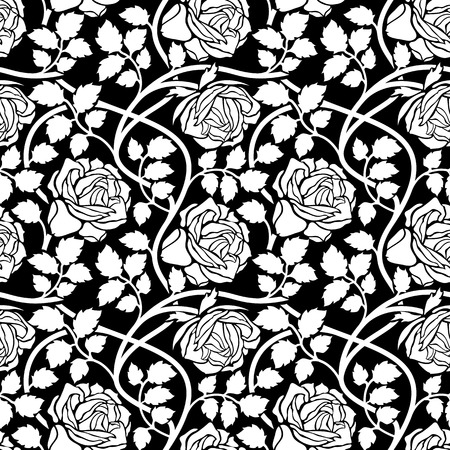 Rose flowers seamless background. Floral ornament with flower head, leaves and lianas, wavy branches foliate pattern. Black and white stylish tracery.