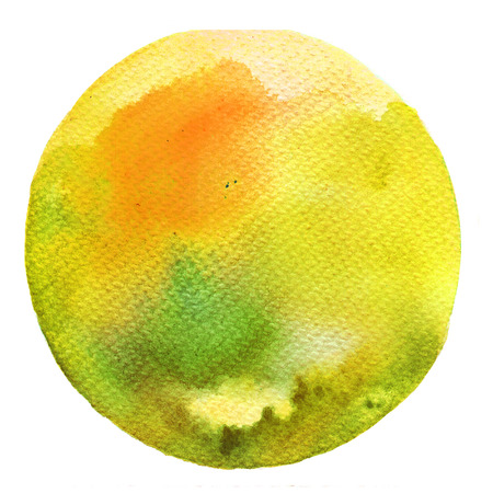 Watercolor circle palette. Watercolor Yellow and Green stain isolated on white background. Banco de Imagens