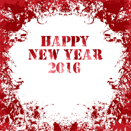 Grungy square Greeting card in red colors. Happy New Year 2016. Ink vector collection.
