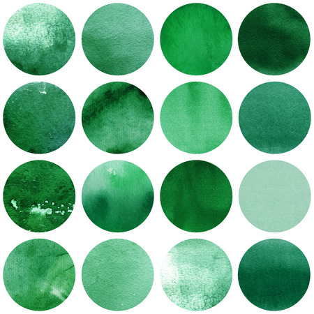 Watercolor circles collection  in green colors. Watercolor stains set isolated on white background. Watercolour palette. Seamless retro geometric pattern, wrapping paper. Banco de Imagens