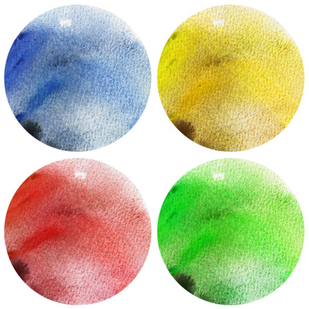 Watercolor 4 seasons circles collection. Red, Blue, Yellow and Green stains set isolated on white background. Watercolour palette.