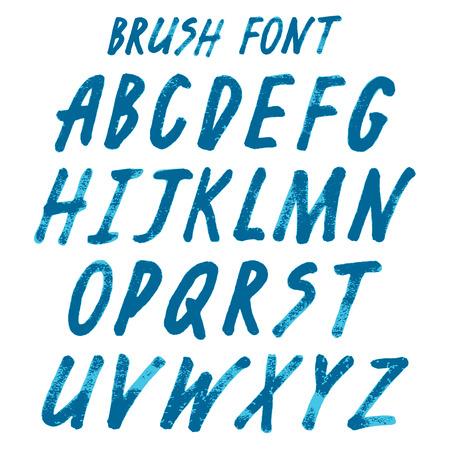 unequal: Brush handwritten full alphabet.  Blue ink script font. Irregular vector letters.