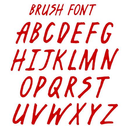 Brush handwritten full alphabet.  Red ink script font. Irregular vector letters. Ilustração
