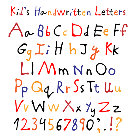 Kid's handwritten letters. Full alphabet and numbers. Children's script font. Ilustração