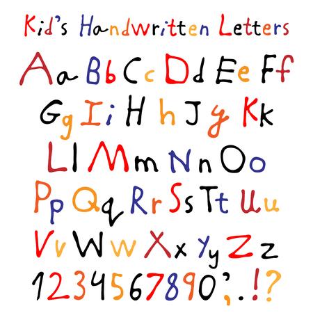 unequal: Kid�s handwritten letters. Full alphabet and numbers. Children�s script font. Illustration