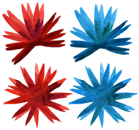 Abstract floral watercolor paintings. Blue and Red Watercolour Sunburst Flower isolated on white background Banco de Imagens