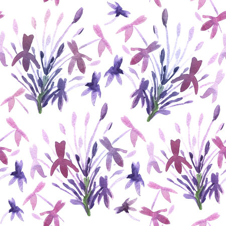 Floral Watercolor Background. Seamless Ornament in Serenity Tint. Watercolour Texture in Pastel Color.