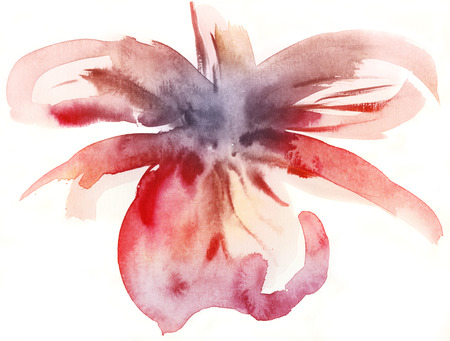 Abstract Floral Watercolor Hand Painted Background with tropical orchid flower. Pastel colored illustration.