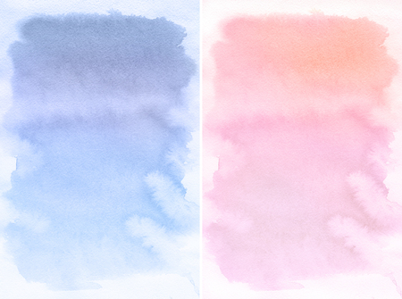 Lilac and Rose spot, watercolor abstract hand painted background. . Rose Quartz and Sernity Tint Watercolour Texture. Pastel Colored Palette. Banco de Imagens