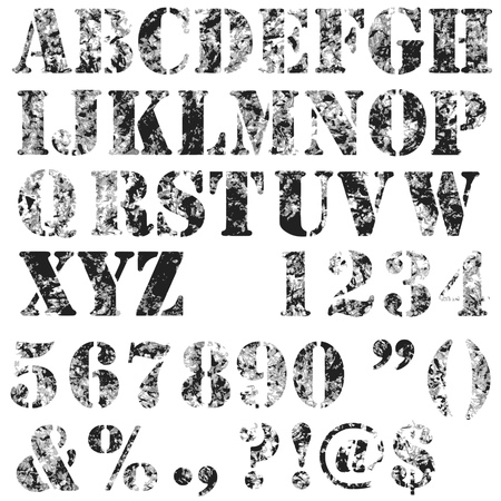 Grunge full alphabet and numbers in black and grey isolated on white. Stamp stencil letters and numbers. Vector font. Banco de Imagens