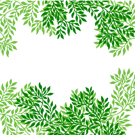 Greeting card with twigs and green leaves. Can be used as invitation card for wedding, birthday and other holiday and summer background. Vector illustration. Banco de Imagens
