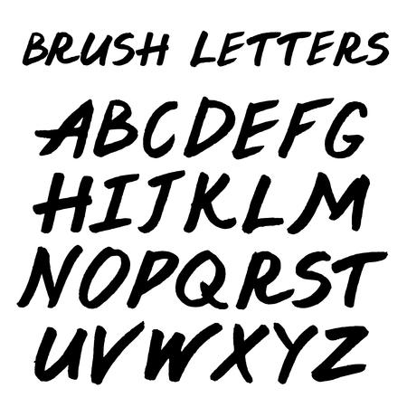 unequal: Brush handwritten full alphabet.  Black ink script font. Irregular letters.
