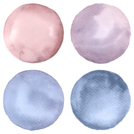 Watercolor cirkels collectie. Watercolor vlekken set geïsoleerd op een witte achtergrond. Watercolour palet. Stockfoto