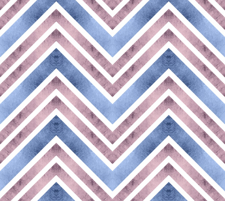 Seamless retro geometric pattern with zigzag lines. Serenity lilac and rose chevron stripes. Watercolor background in pastel colors.