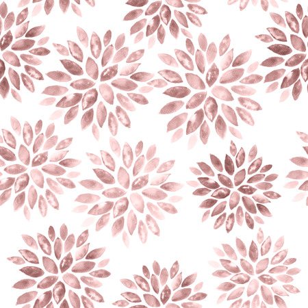 Floral Watercolor Background. Seamless Ornament in Rose Quartz Tint. Watercolour Texture Pattern in Pastel Color.