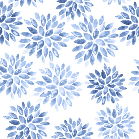 serenity: Floral Watercolor Background. Seamless Ornament in Serenity Tint. Watercolour Texture Pattern in Pastel Color. Stock Photo