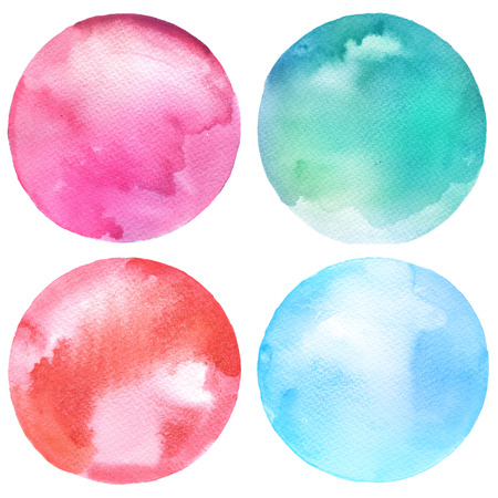 Watercolor circles collection. Watercolor stains set isolated on white background. Watercolour palette.