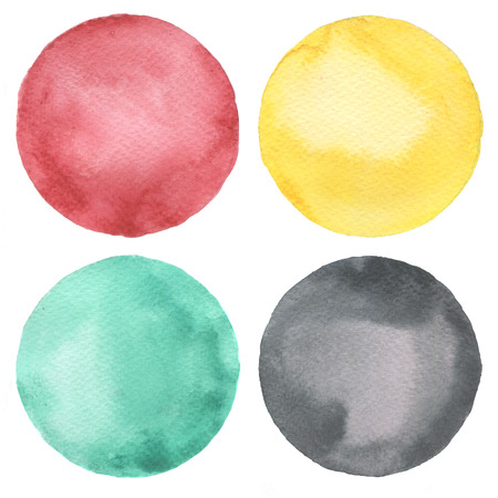 black circle: Watercolor circles collection. Watercolor stains set isolated on white background. Watercolour palette.
