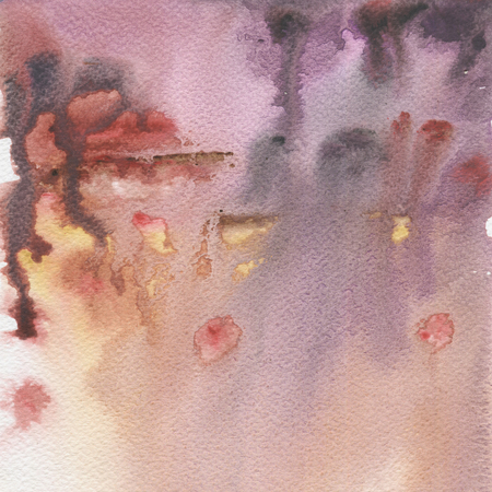 Yellow and purple spots gradient, watercolor abstract hand painted texture. Landscape sky background.