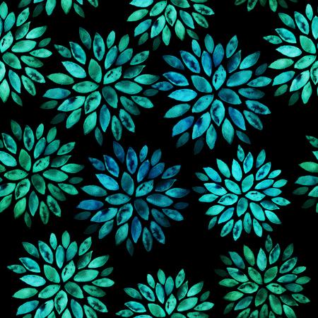 Seamless floral hand painted watercolor ornament Banco de Imagens