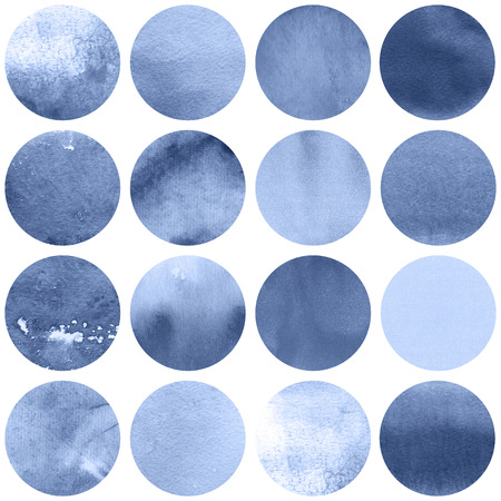 Watercolor circles collection  in lilac colors. Watercolor stains set isolated on white background. Serenity tint palette. Seamless retro geometric pattern. Banco de Imagens