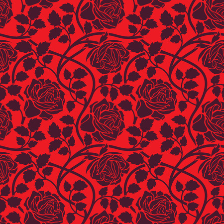 Rose flowers seamless background. Floral ornament with flower head, leaves and lianas, wavy branches foliate pattern in red colors.