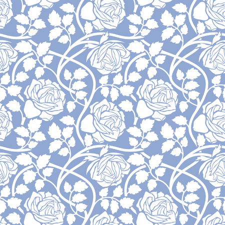 Stylish Rose Flowers Seamless Pattern on lilac Background. Floral Texture. Serenity Tint Ornament.