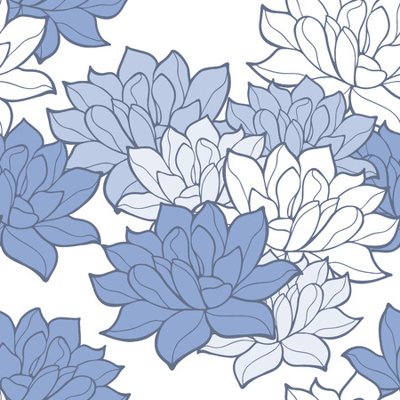 Stylish lotus flowers seamless background. Floral pattern. Serenity tint ornament.